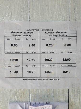 Samut Songkhram, Thailand: 変更後のメークロン線時刻表