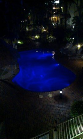 Noosa International Resort: the smaller pool at night - view from our balcony