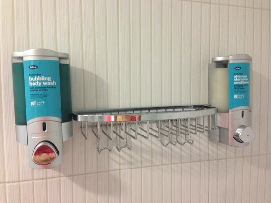 Aloft Cupertino: Bliss products in shower.