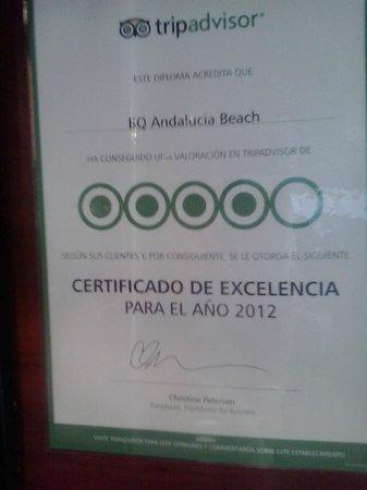 BQ Andalucia Beach Hotel: este certificado es de verdad??