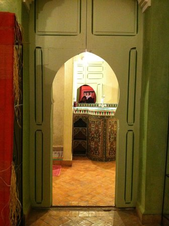 Riad Ker Saada : View from sleeping room into bathroom - loved the beautiful painted wood