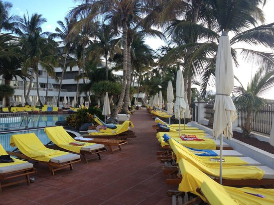 Suite Hotel Fariones Playa: Loungers all taken, but where are the people? In bed or at breakfast, its 7.30 am!!!