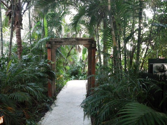 Parrot Key Hotel and Resort: tropical tunnel leading to one pool, carved gate was pretty