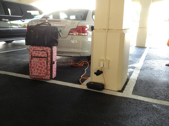 Delamar Greenwich Harbor Hotel: 120v outlets - plenty to recharge your car overnight.
