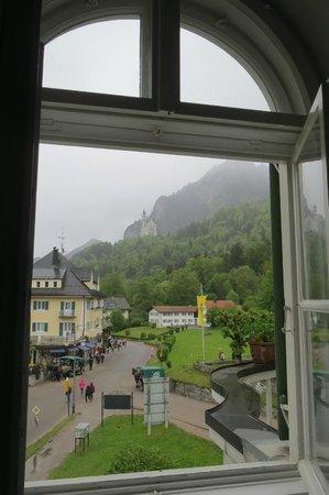 Villa Jägerhaus: View of town and Neuschwanstein Castle from our room