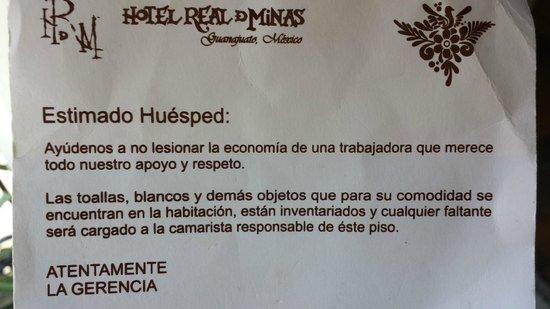 Hotel Real de Minas: Advertencia de cobro a recamaristas si algo se pierde