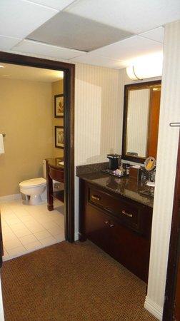 Hilton Bellevue Hotel: Туалетный столик и ванная