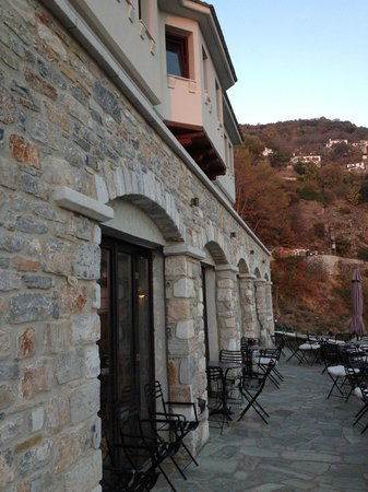 Archontika Karamarlis : Lower Terrace outside reception (Breakfast area)