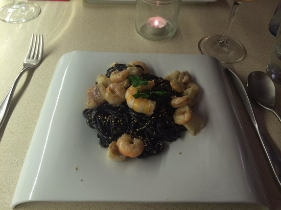 Wine Garage: spaghetti nero with prawns and monkfish (one of the best meals we have ever tasted)