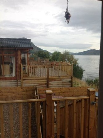 Loch Ness Highland Lodges : lodge 3 to the left & hobbits in distance