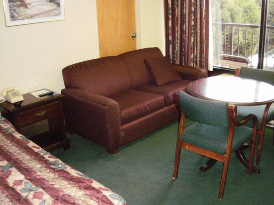 Riverside Motor Lodge: couch & table