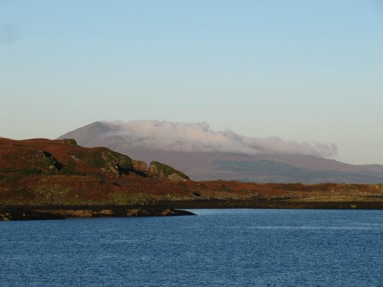 The view of the mountains of Mull behind the island of Kerrera from the Corriemar Guest House