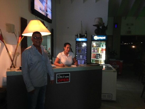 Red Fish: The owner and staff member