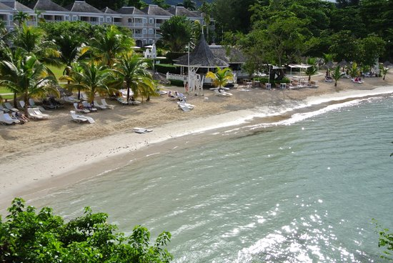 Couples Sans Souci: Looking down to beach from upper area of resort