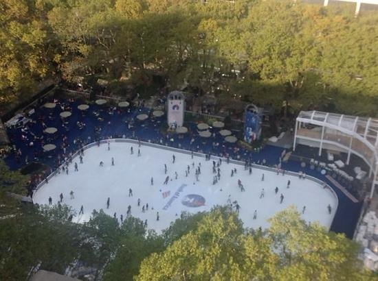 The Bryant Park Hotel : View of Bryant Park skating rink from room terrace
