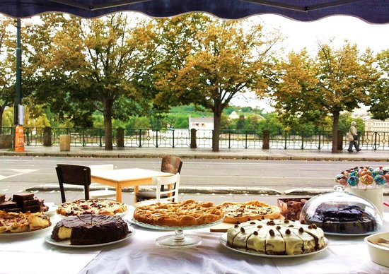 market stall with TRICAFE cakes