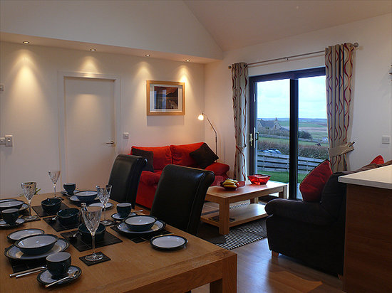 Scapa Flow Lodges: Living Area with spectacular views