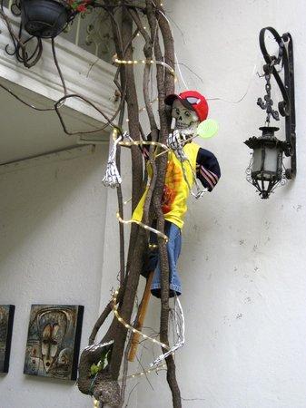 Casa de Las Bugambilias B&B: Day of the dead skeleton climbing the wall