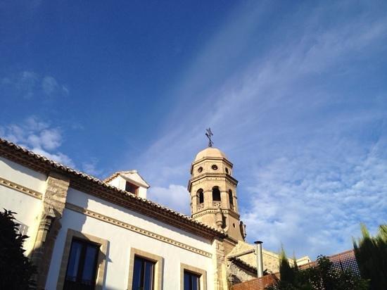 Hotel Puerta de la Luna: Vista parcial de la Catedral desde el jardin