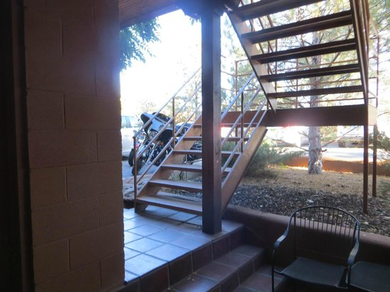 Santa Fe Motel & Inn: R #2 - under the stairs - it didn't bother us at all and the hotel was full.  Bikes right outsid