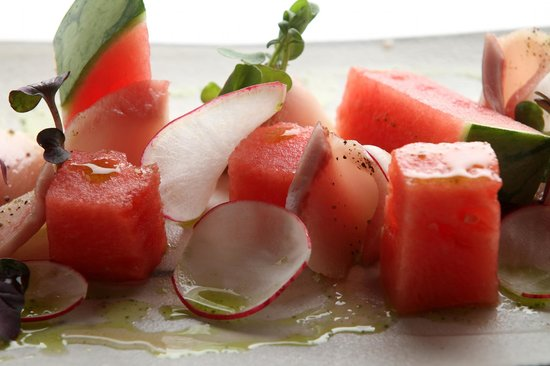 East by Southwest : Watermelon tuna akami with slivered ginger & lemon grass ponzu