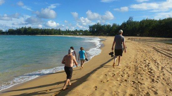 Anahola Beach Park: Walking the beach