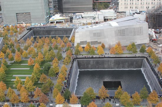 Club Quarters Hotel, World Trade Center: View of the 9/11 Memorial from the 20th floor restaurant/bar