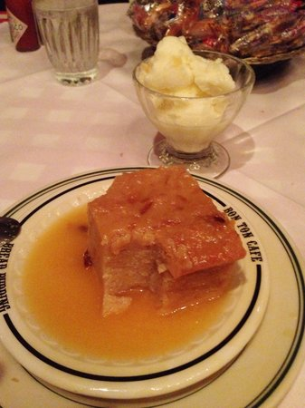 Bon Ton Cafe: Bread pudding with whiskey sauce & pineapple sherbet