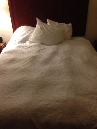 Hampton Inn Oklahoma City/Edmond: Hampton Inn's very badly maintained linens. Lumpy duvets.
