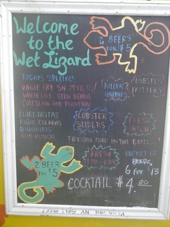 Wet Lizard: menu board