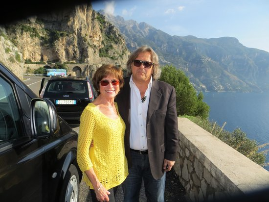 Rudy's Touring Service - Driving & Walking Tours: My wife and our driver along the Amalfi coast