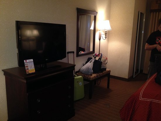 Comfort Suites University Drive: Great TV and Large Mirror on wall and full length Mirror on closet door.