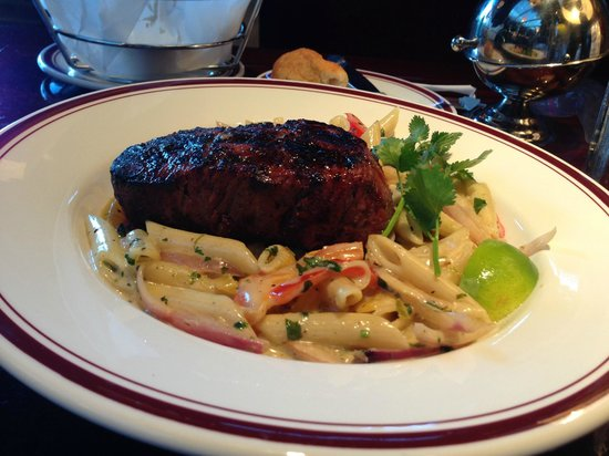 Mike's American Grill : 10 oz. filet mignon (cooked medium) with tequila lime cream on penne pasta.