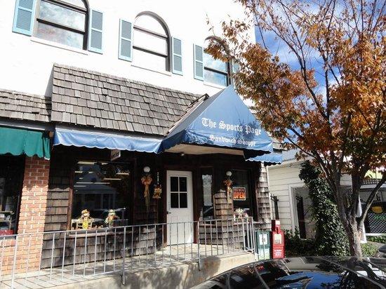 Sports Page Sandwich Shop : Outside front entrance downtown