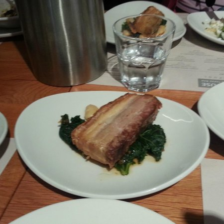 Salt House Tapas: Slow roasted belly pork with braised butter beans and greens