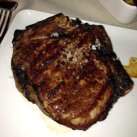 [m]eatery bar + restaurant : Steak. Overcooked.