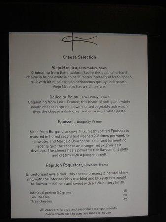 Flying Fish Restaurant & Bar: the cheese menu