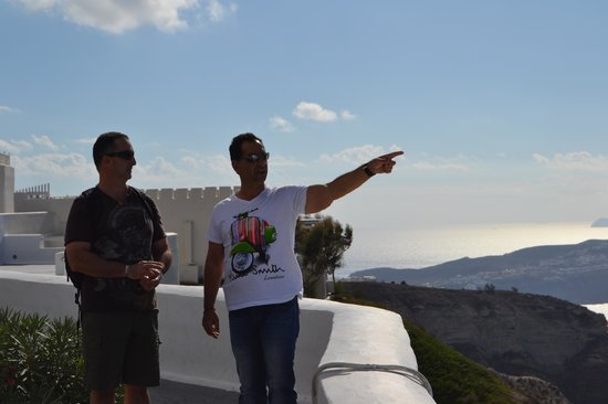 Private Santorini Tours - Private Day Tours: Our Guide pointing out the sights