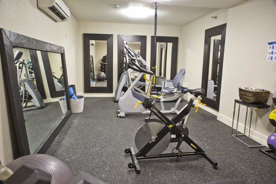 Hotel Vue: Fitness Center with TRX, Precor Fitness, Free Weights, and Yoga Mats