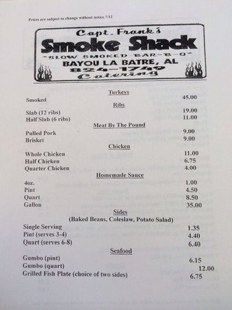 Captain Frank Smoke Shack: Menu side 2 7/12