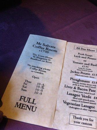 Mr. Salvat's Coffee Room: the lunch menu