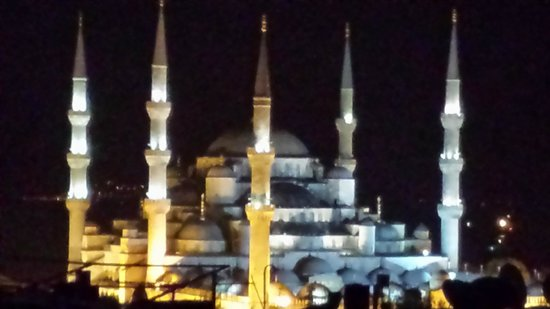 Aldem Hotel : View of the Blue Mosque room roof terrace.  Notice the silhouette of cats on the right :-)
