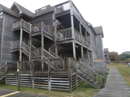Barrier Island Station - Duck : The stairs and outside porches.  Each unit has a private porch with a table and four chairs.