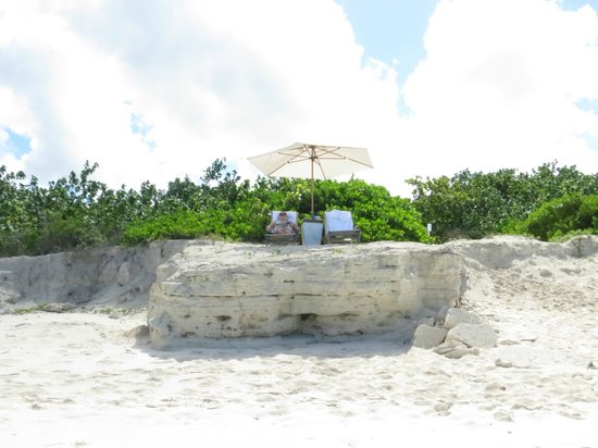 COMO Parrot Cay, Turks and Caicos: private beach chairs at our villa