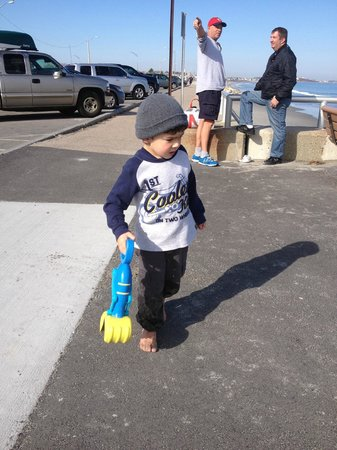Nantasket Beach Resort : My Granson at the beach across from the resort,