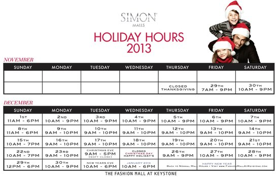 Fashion Mall Holiday Hours Indianapolis