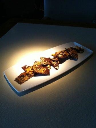 Rockpool Bar & Grill : Petit Fours - Cashew and Sesame Chocolate Bark