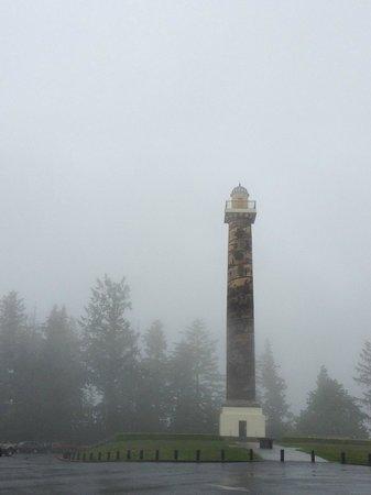 Astoria Column: foggy view of the column