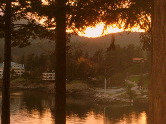 Rosario Resort and Spa: Sunset and Moran Mansion from Harborside King Room.