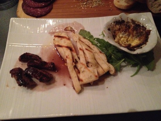 Must Kitchen & Wine Bar: Truffle Brûlée appetizer; venison with naan and charred truffle oil goat cheese brûlée with smok